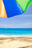 Beach umbrella's background. Against a blue sky and ocean Royalty Free Stock Photo