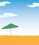 Beach umbrella on sand. This is an illustration of beach umbrella. Colors can be changed in additional format Stock Image