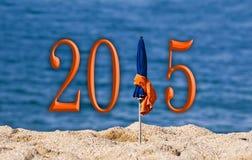 2015, beach umbrella. Sea background Stock Illustration