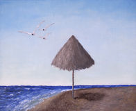 Beach Umbrella and Sea Gulls Flying. Oil painting of a beach umbrella on the seashore with gulls flying overhead Stock Photography