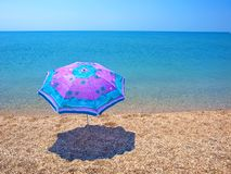 Beach umbrella, sea and sky Royalty Free Stock Photography