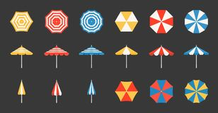 Beach umbrella set, side and aerial view. Flat design pixel perfect icon on grid system Stock Photography