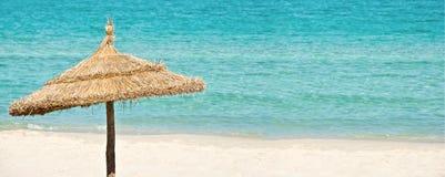 Beach umbrella, summer sea panoramic background, travel concept Royalty Free Stock Image