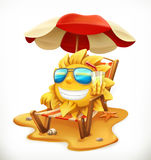 Beach umbrella and sun. vector icon Royalty Free Stock Image