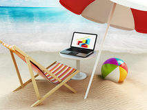 Beach umbrella, sunbed, ball and laptop by the seashore. 3D illustration. Beach umbrella, sunbed, ball and laptop computer by the seashore. 3D illustration Royalty Free Stock Photography