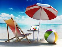 Beach umbrella, sunbed, ball and laptop by the seashore. 3D illustration Stock Images