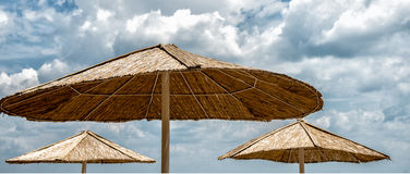 Beach umbrella on sunny day Royalty Free Stock Image