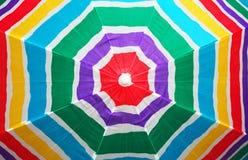 Beach umbrella. Top view of colorful striped beach umbrella Stock Photo
