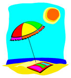 Beach umbrella and towel. Illustration depicting a corner of beach umbrella and towel Stock Image