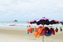Beach umbrella and toy Stock Image