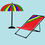Beach umbrella vector icon. Parasol with deck chair. Stock Images