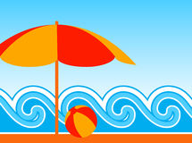 Beach umbrella and waves Stock Image