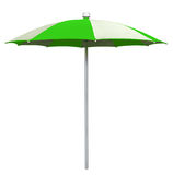 Beach umbrella - white-green. White-Green striped beach umbrella isolated on white. Clipping path included Stock Image
