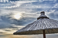 Beach Umbrella. And a wonderful sky stock photography