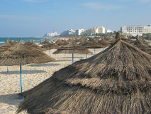 Beach umbrellas. Thatched umbrellas on a beach in Sousse, Tunisia Royalty Free Stock Image