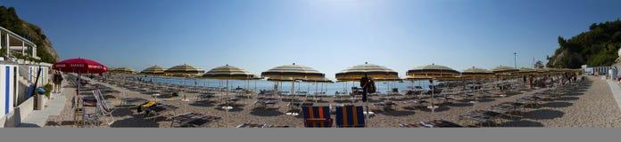 Beach umbrellas. Umbrellas in a little, nice beach Stock Photo