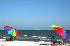 Beach with Umbrellas Stock Photos
