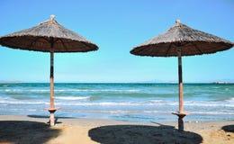 Beach umbrellas. At the beach Royalty Free Stock Photography