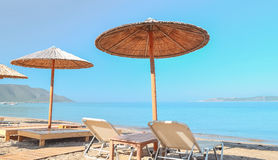 Beach umbrellas. At the beach Stock Images