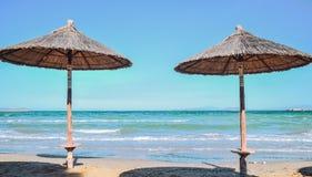 Beach umbrellas. At the beach Royalty Free Stock Image