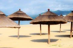 Beach umbrellas. At the beach Stock Photos