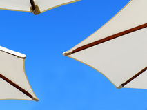Beach umbrellas. White beach umbrellas with wooden construction under sunny blue sky Royalty Free Stock Image