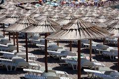 Beach Umbrellas. Umbrellas at the beach. Lucice. Montenegro Stock Photos