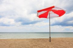Beach umbrellas on the beach Stock Photos