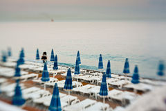 Beach umbrellas in a beach Royalty Free Stock Image