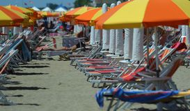 Beach umbrellas on the beach Royalty Free Stock Images