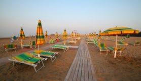 Beach umbrellas on the beach Royalty Free Stock Photos