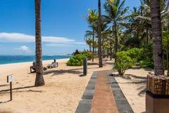 Beach umbrellas on a beautiful beach in Bali Royalty Free Stock Photos