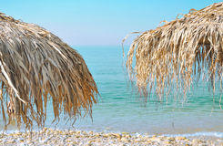 Beach umbrellas. Beautiful, palm beach  umbrellas at the beach Royalty Free Stock Image
