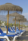 Beach umbrellas and beds Royalty Free Stock Photo