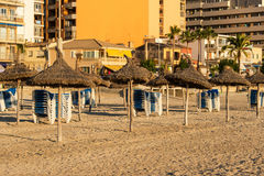 Beach with umbrellas and benches Stock Image