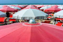 Beach umbrellas on Cattolica, Riviera Romagnola, Italy Stock Image