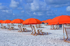 Beach umbrellas. And chairs  in Clearwater Beach, Tampa; Florida, USA Stock Images