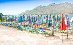 Beach umbrellas and chairs. Stock Image