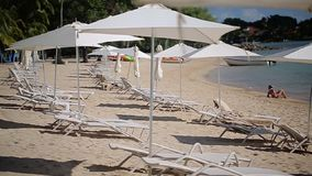 Beach umbrellas and chairs stock footage