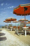 Beach with umbrellas and chairs Royalty Free Stock Image