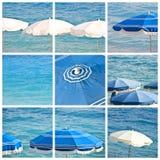 Beach umbrellas collage Royalty Free Stock Photos