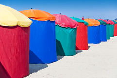 Beach umbrellas, Deauville Royalty Free Stock Images