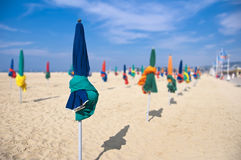 Beach umbrellas, Deauville, France Royalty Free Stock Photo