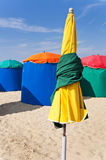 Beach umbrellas in Deauville Royalty Free Stock Photography