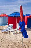 Beach umbrellas in Deauville Stock Image