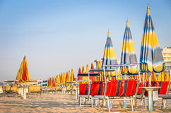 Beach Umbrellas at the end of the Season - Rimini Beach, Italy. Wide view of closed beach umbrellas at the end of the season at Rimini Beach in the italian east Stock Photography