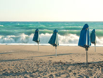 Beach umbrellas. In heavy weather Stock Photo