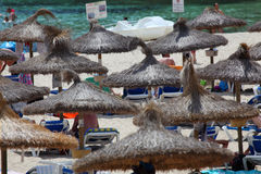 Beach with umbrellas. Many umbreallas at the beach Royalty Free Stock Image