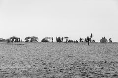 Beach Umbrellas People Black White stock image