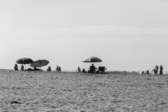 Beach Umbrellas People Black White royalty free stock photo